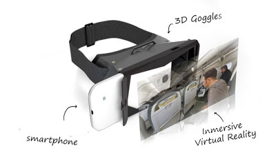 exploded view of a virtual reality headset